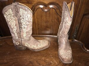 Corral Teen Brown/Beige Leather Embroidered Square Toe Women's Boots Size US 4