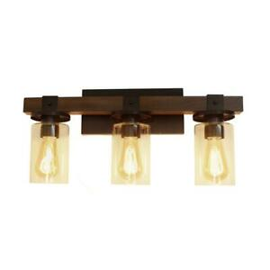 Elegant Designs 3-Light Brown Industrial Rustic Lantern Restored Wood Look Bath