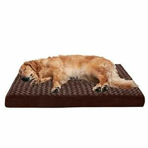 Furhaven Pet Dog Bed - Deluxe Orthopedic Mat Ultra Plush Faux Fur Traditional Fo