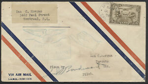 1928 Montreal to Toronto Flight Cover, Pilot Signed AAMC #2848, Cachet Error