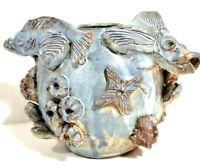 Vintage Handmade Studio Ceramic Vase CHRISTOFER CRETE Sculptured Pottery Aquatic