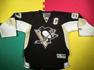 Sidney Crosby Pittsburgh Penguins Reebok Capitan Hockey Jersey Youth Size S/M