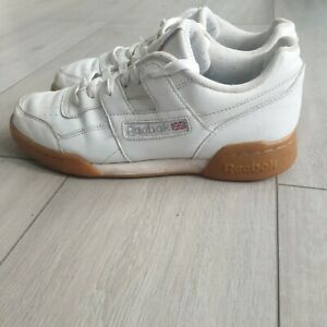 Reebok Workout Plus Trainers, Gum Sole-classic H Strap Soft Leather Size 8