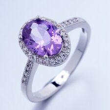 Romantic Wedding Jewelry 1ct  Purple Oval Cubic Zircon Rings Size 10 T1/2