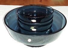Lovely Dark Blue Blown Glass 5 pce Trifle Fruit Dessert Bowl Set. Made in Poland