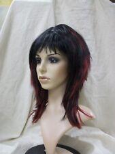 Sexy Black & Dark Red Shag Layer Wig Goth EMO Girl Punk Rock Vamp Mistress Comic