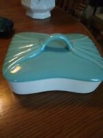 "Hoenig of California pottery, Turquoise cover cream bottom trinket box 7""x 5"""