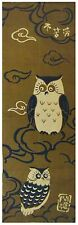 Japanese Cotton Tenugui  Tapestry  Owl    Made in Kyoto Japan