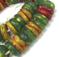 "7"" Strand of 51 Large Mixed Colorful Czech Disk Antique Beads African Trade"