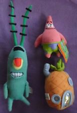 "LOT OF 3 SPONGEBOB CHARACTER PLUSH PINEAPPLE 14"" PLANKTON PATRICK NAMCO MATTEL"