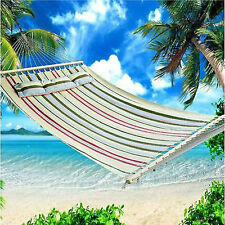 Heavy Duty Double Size Hammock Quilted Fabric Pillow Spreader Bar Outdoor Green