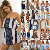Womens Holiday Mini Playsuit Party Jumpsuit Summer Beach Sundress Romper Dress