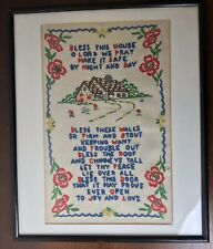 Vintage Matted Framed Crewel Embroidery Bless This House Prayer 17 X 14""