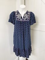 Anthropologie One September Blue Floral Short Sleeve Embroidered Dress M