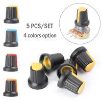 5Set 5K-100K OHM Terminal Rotary B Type Potentionmeter + Switch Knob Cap 4 Color