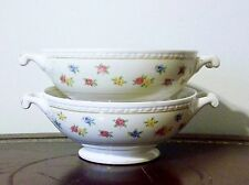 Homer Laughlin Moselle Footed Cream Soup Bowls (2) Eggshell Georgian 1941 Rare