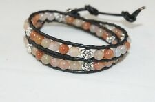 Light Pink Agate Double Wrap Leather  Bracelet With Silver Skull Accents NEW