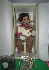 "Native American Porcelain Doll Little Red Cloud 16"" World Gallery 706/2500 NIB"