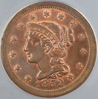 1852 Braided Hair Large Cent 1c ANACS MS-65 RB Red Brown *Gem BU*