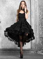 Dark In Love Gothic Hi Low Prom Dress Black Victorian Lace Vintage Evening Gowns