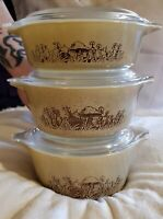 PYREX Forest Fancies-Vintage Rare-1970's- 3pc. Casserole Dishes w/h Lids-