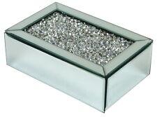 Verre Miroir Bijoux Boîte Velours Noir Avec Broyé Diamants