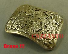 Solid Brass Belt Buckles Plate Floral pattern Classical for 38mm belt Z167