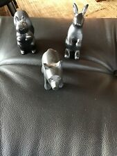 Vintage black resin squirrel, rabbit & bear sculpture/ figurine mid century (3)