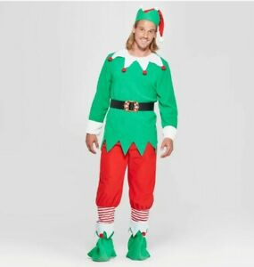 Elf Costume Unisex Men Adult Fancy Dress Santa Helper Christmas Outfit Small