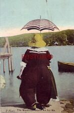 """1909 """"IT FLOATS"""" THE MACKINAC ISLAND AIR FOR ME large woman with parasol on dock"""
