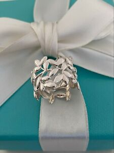Tiffany & Co Paloma Picasso Sterling Silver Olive Leaf Wide Band Ring RRP $675