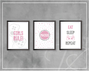 Gaming Prints Personalised Girls Bedroom Pink Decor Gamer Poster Games Room Wall