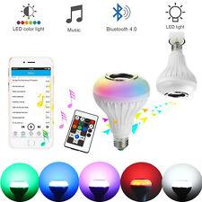 12W LED Wireless Bluetooth Bulb Speaker RGB Smart Music Play Light Lamp + Remote