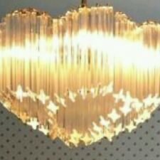 Mid 1960's Vintage 7 circle Cascading Camer Murano Venini Glass chandelier