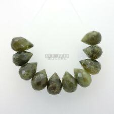 10 PC Green Garnet Faceted Teardrop Briolette Beads ap. 8 x 10mm - 12mm #19442