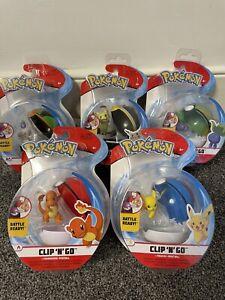 Bundle Of 5 Pokemon Clip N Go Including Pikachu & Charmander *All Brand New*