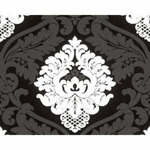 AS CREATION Bling Bling Black And White Glitter Damask Wallpaper 3139-59