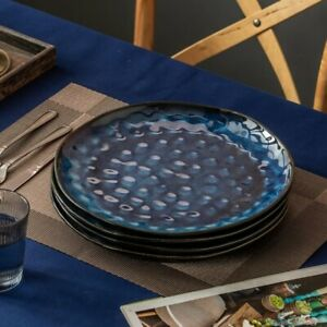 Vancasso Star 4pcs Set Flat Plates Dinner Vintage Ceramic Blue (28*28*2.5cm)