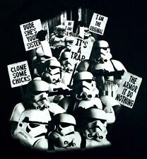 STAR WARS T-SHIRT Stormtroopers Protest XL BLACK LUCASFILM Licensed 2013