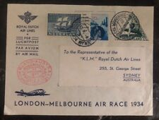 1934 The Hague Netherlands Airmail Cover To Sydney Australia Royal Dutch Airline