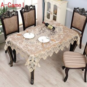 Rectangle Table Cloth Table Cover Protector Decor Velvet Lace Trim Floral Modern