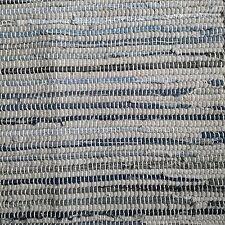 Rag Rug Blue Denim Striped Mat Vintage Style Cotton Fair Trade Hand Loomed 60x90