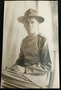 vintage Military RPPC Postcard man in uniform heading to Panama Canal Zone