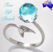 Mermaid Tail Blue Crystal Bubble Ocean Sea Marine Beach Silver Ring Women's Gift