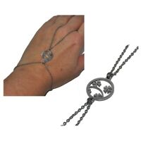 ZéeO Bijoux Bracelet bague bijou de main acier argenté trèfle à quatre feuilles