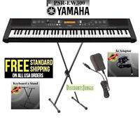 Yamaha PSR-EW300 SA 76-Key Portable Keyboard w/FREE Stand and Power Supply-BLACK