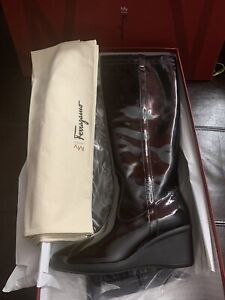 Authentic Ferragamo Tall Black Patent Leather Boots 9c Extralight