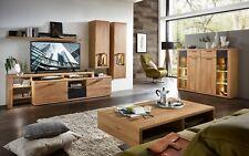 TV-Wohnlösung Bianco Wildeiche Nb. Massiv Mit Beleuchtung Wohnwand 5-Teilig