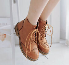 Womens Brogues Retro Oxfords Pumps Low Heels Lace Up Wingtip Shoes Ankle Boots