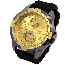 Mens Techno King Gun Gold Metal Case Black Silicone Band Quartz Wrist watches